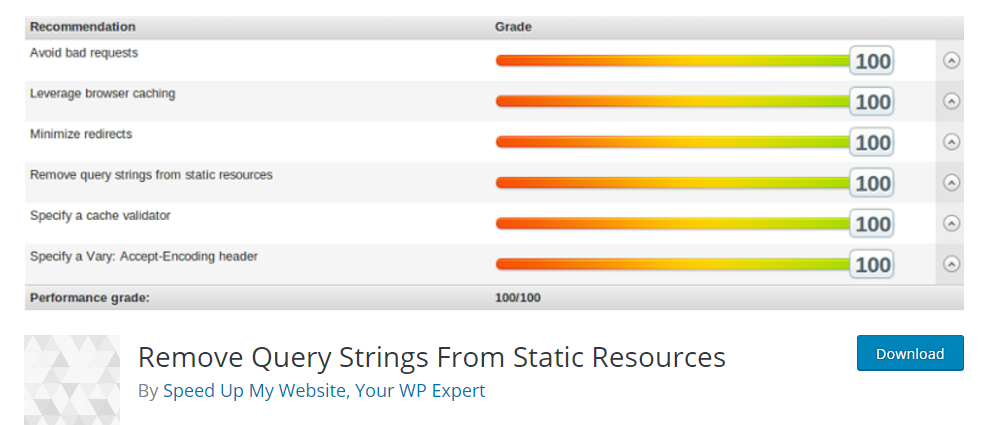 remove-query strings static resources plugin